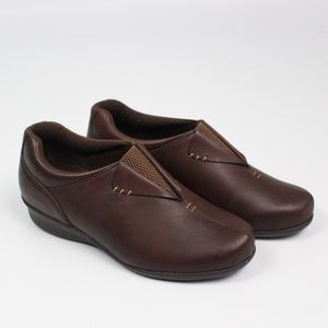 Drew Naples brown leather loafer wedge comfort
